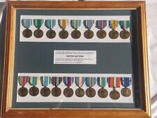 Framed 19 original UN medals 1940's to 2000's as issued to Australians.