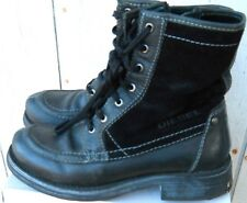 CLASSIC DIESEL WOMEN'S BLACK LEATHER & SUEDE 7 EYELET ZIPPER BOOT SIZE US 9.5