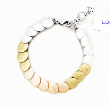 NWT $39 Lucky Brand Silver Rose Gold & Gold Tone Linked Bracelet
