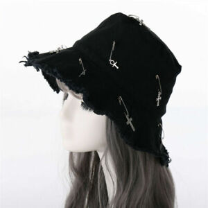 Gothic Girl Bucket Hat with Cross Brooch Punk Women Hat Black Party Cosplay