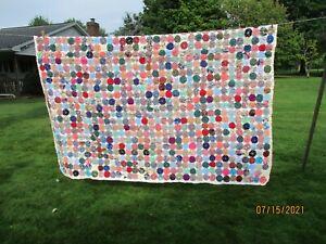 "Vintage hand made quilt YOYO pattern 84""x62"""