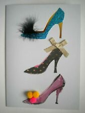 C.R.GIBSON ~ GLITTERY EMBELLISHED STILETTOS BIRTHDAY GREETING CARD + ENVELOPE