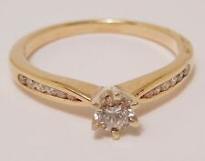 100% Genuine Vintage 9k Solid Yellow Gold MHJ 0.32ct Diamond Ring Sz 7.5 US
