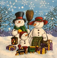 2 single paper napkins for Decoupage New Year Christmas gifts Snowma kids winter