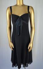 MAGGY LONDON Elegant Black Silk Chiffon Cocktail Dress 14 Sueded Silk Trim