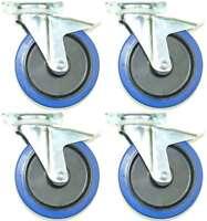 4x 200 mm SL Transportrollen mit Bremse Lenkrollen Blue Wheels Schwerlastrollen