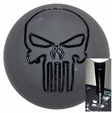 Gray Punisher Skull shift knob for Dodge Chrys Jeep Auto w/ Blk Adapter