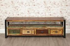 Large Reclaimed Timber Loft Industrial Style Media Unit Television Cabinet