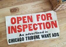 Vintage 1960s Chicago Tribune Real Estate Open House Paper Sign MCM For Sale