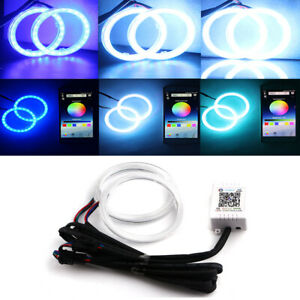 2x 60mm Angel Eyes RGB Headlight Halo Rings For Car Scooter Motorcycle Universal