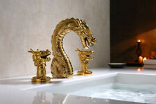 """Luxury Gold 8"""" widespread washbasin dragon lavatory basin sink Faucet mixer tap"""