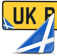 2 x 3D Domed Scotland Flag Number Plate Laptop Phone Helmet Bike Case Stickers