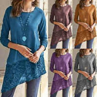 Women Long Sleeve Irregular T-Shirt Hem Top Ladies Lace Blouse Tunic Shirt Tops