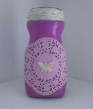 Home decor handmade purple glass bottle vase with butterfly decoration