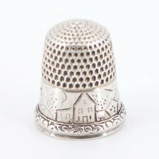 VTG Sterling Silver - Engraved House Filigree Sewing Thimble - 4g