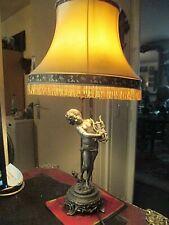 lampe art nouveau 1900 enfant a la lyre en etain  signé auguste moreau