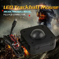 Illuminated 4.5cm Round LED Trackball mouse PS/2 PCB connector for Arcade MAME