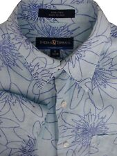 INDIAN TERRAIN Shirt Mens 15.5 S Blue - Flowers LINEN EASY IRON SHORT SLEEVE