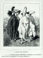Gavarni: Masques et Visages.70.L'école des Pierrots.2.Pulcinella.Caricatura.1857