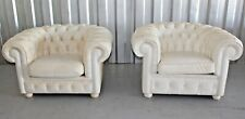 Pr of MCM 1970's Italian Fendi Casa Albino Distressed Chesterfield Armchairs