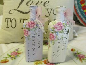Shabby Chic Hand Painted Roses - Set of Two Vintage French Bottles