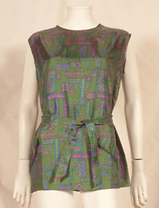 60'S FRENCH VINTAGE PRINT PARTY TUNIC UK 14/16 - FR 42/44