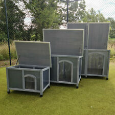 More details for dog kennel plastic and wood insulated twin panel dog shelter sizes m l xl