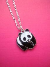 Funky Negro Blanco Oso Panda Collar Kitsch Retro Lindo Con Dibujo Kawaii de vida silvestre animal