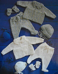"#15 Premature Baby Girl Boy DK Pram Sets 12-18"" 31-46cm Knitting Pattern"