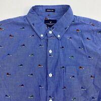 American Eagle Button Up Shirt Men's Medium Short Sleeve Blue Sneaker Print
