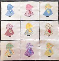 """Lot of 9 Dutch Girl Quilt Top 6"""" Blocks Colorful Sunbonnet Sue Fabric Applique"""