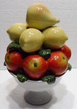 CORBEILLE faïence trompe l'oeil coupe de fruits pommes poires