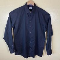 Eton Contemporary Fit Button Up Shirt Mens 18 - 46 Black Long Sleeve Collared