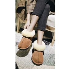 New Winter Womens Fit Slippers Natural Sheepskin Warm Ladies Fur Shoes Plus Size
