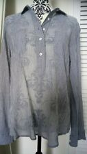 Sheer Denim Blue & White Striped Summer Popover Shirt Blouse from Fat Face 12