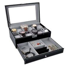 12 Slots Watch Box Large Mens Black PU Leather Display Glass Top Jewelry Case