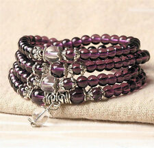 Purple Crystal Buddhist Amethyst Prayer Japa Mala 108 beads 6mm StretchUS SELLER