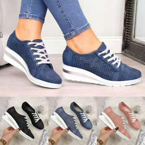 UK Womens Wedge Heel Breathable Trainers Sneakers Casual Comfy Shoes Size 2-8