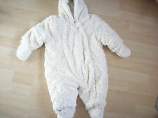 MOTHERCARE CREAM HEARTS FUR SNOWSUIT & MITS 3-6 MONTHS NEXT DAY POSTING.