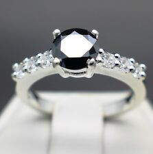 1.32cts 7.02mm Real Natural Black Diamond Ring, Certified AAA  & $1060 Value...
