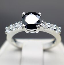 1.34cts 7.09mm Real Natural Black Diamond Ring, Certified AAA  & $1070 Value