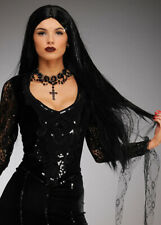 Womens Halloween Deluxe Long Black Morticia Style Wig