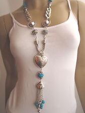Modekette lang Damen Hals Kette Bettelkette Modeschmuck Silber Türkis Herz B045