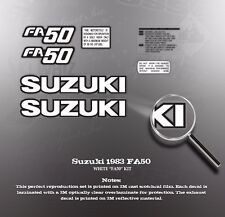 """SUZUKI 1983 FA50 SCOOTER DECAL GRAPHIC KIT White """"FA50"""" decals version see pic"""