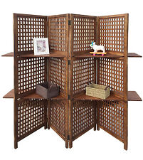 3-Way Display 4 Panel Heavy Duty Indian Screen 2 Shelves Bookcase Room Divider