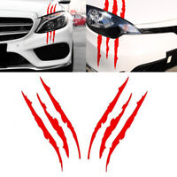 Pair 38cm Red Universal Car Headlamp Vinyl Eye Catching Claw Marks Decal Sticker