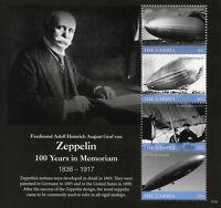 Gambia 2017 MNH Graf von Zeppelin 100th Mem 4v M/S Zeppelins Aviation Stamps