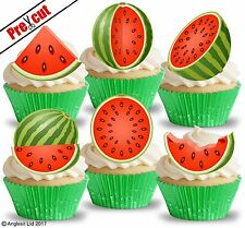 PRE-CUT WATERMELON EDIBLE WAFER PAPER CUP CAKE TOPPERS SUMMER PARTY DECORATIONS