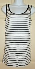 New Womens XL 16-18 Black White Striped Tank Top Ribbed Time & Tru