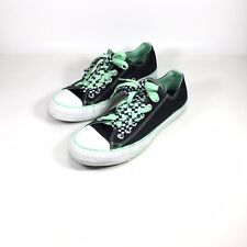 5bb5d656a481 Converse All Star Double Tongue Low Top Sneakers Black Green Checkered Sz 7  UK 5